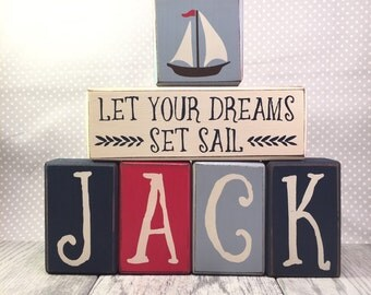 Nautical wood sign blocks, block signs, personalized little sailor, primitive stacking wood block, primitive sign painted sign blocks whale