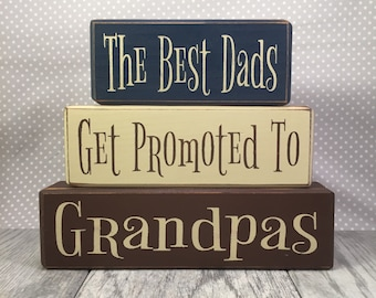 distressed wood sign blocks father's day grandpa gift best dad's get promoted papas grandpas personalized gifts for him gifts for dad