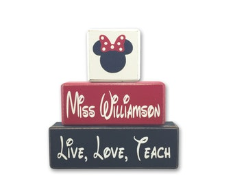 Minnie Mouse or Mickey personalized First or Last name TEACHER Wood Sign Shelf Blocks primitive rustic country