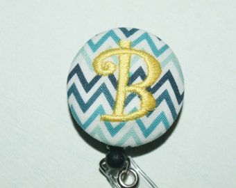 Id Reel monogrammed, U design, fabric, letter and color. #90