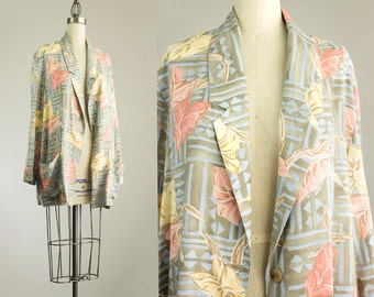 Cherie Vintage 90s Vintage Pastel Tropical Floral Print Slouchy Blazer Coat  / Size Small / Sage / Coral / Hipster / Boho Fashion / Indie