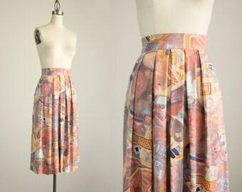90s Vintage Clay Desert Abstract Print Pleated Midi Skirt / Size Small / Medium / Indie Preppy Grunge Prep / Boho / Pleated / Full Skirt