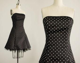 90s Vintage Jessica McClintock Gunne Sax Black & White Polka Dot Print Strapless Mini Dress / Size Small