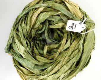 Silk Sari Ribbon, Sari silk ribbon, recycled ribbon, sage green sari ribbon, silk ribbon, green sari ribbon, weaving supply