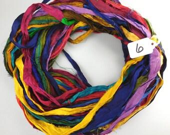 Sari Silk Ribbon, Recycled Silk Sari Ribbon, multi color ribbon