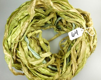 Silk Sari Ribbon, Sari silk ribbon, recycled ribbon, sage green sari ribbon, silk ribbon, green sari ribbon
