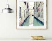 Venice Photograph / water reflection / european travel / boat photo / Italy wall art / pastel pale mint / jade green / 'Acqua di Venezia'