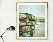 Nautical photography / fishing boat harbor / crab pots ropes / aqua green decor for him  print 8x10 11x14 16x20 20x24  'Boat Yard'