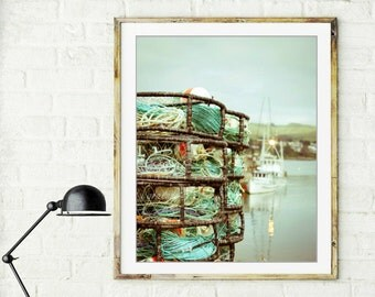 "Beach ocean photography print, fishing boat harbor crab pots ropes aqua green decor for him  print  ""Boat Yard"""