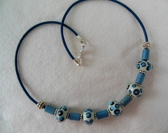 Lampwork and Ceramic Bead Necklace - Blues, Black, White