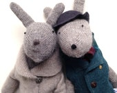 Spring Bunny, hand knit bunny rabbit, Easter Bunny, ooak