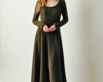 Vintage Olive Knit Sweater Dress