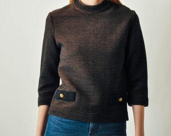Vintage Rib Knit High Neck Sweater