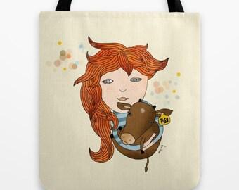 Girl Tote Bag, Cow Bag, Animal Bag, Vegan Tote bag - No Longer a Number