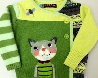 Kitty Cat Treat - Child's Sweater Jacket - Pieced Recycled Wool with Needle Felting, size 1-2 OOAK HANDMADE by Val's Art Studio