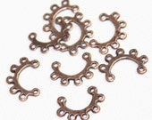 20 pcs of antique copper  connector  link with 7 loops 16x10mm , red bronze connector bar, copper connector bar