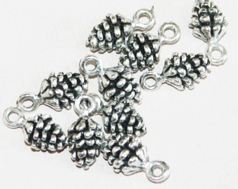 10 pcs of Antique Silver Pinecone charm 13x7mm, Antique silver Pine Cone drops, Antique silver Pinecone pendant