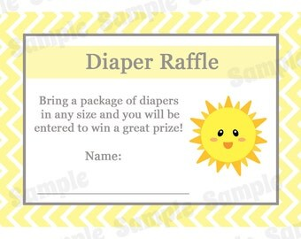 24 Baby Shower Diaper Raffle Cards - You are My Sunshine - Sunshine Baby Shower