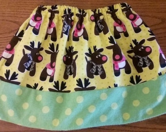 CHRISTMAS REINDEER SKIRT size 3/4 ready to ship need another size...just ask