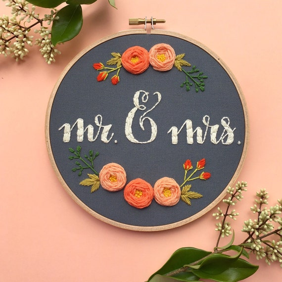 Mr mrs embroidery hoop wedding anniversary gift