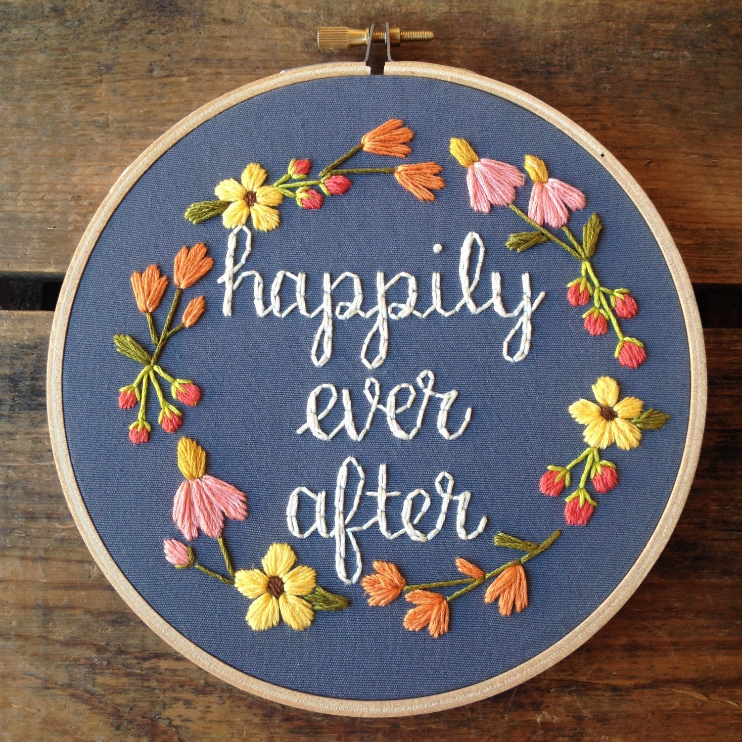 Happily ever after embroidery hoop art by bugandbeanstitching