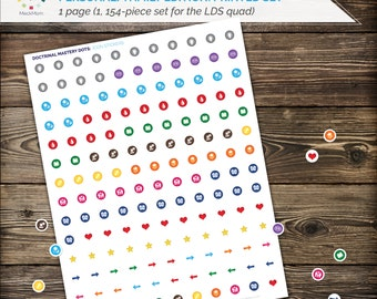 PRINTED SET - Seminary Doctrinal Mastery Dots: Icons - LDS Scripture Margin Stickers - Full 154 pc printable set