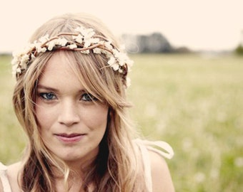 Bridal crown, Boho wedding wreath, Rustic woodland hair band, Ivory headpiece, Autumn wedding - ADELINE