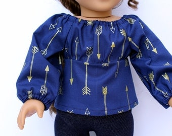 Fits like American Girl Doll Clothes - The Arrow Jewel Tone Collection, Peasant Top in Midnight Arrows, Made To Order