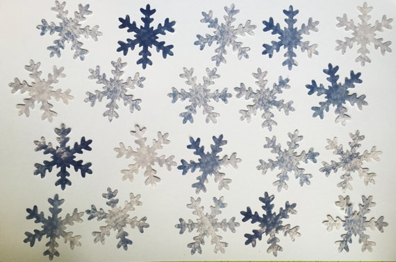 "Winter Scrapbook Paper Snowflake Die Cuts Large 2.5"" and Small 1"" Assortment 70 Pieces Blue White Grey Pattern"