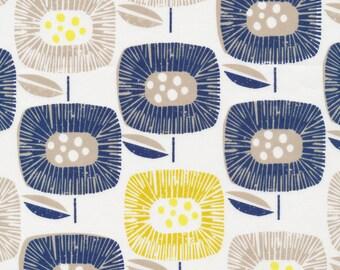 Blooms Navy Organic Cotton Fabric