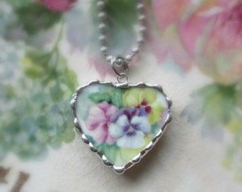 Vintage Broken or Shabby China Sweet Soft Pansy Faces Bracelet Charm or Pendant
