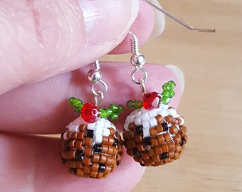 Tiny Hand Beaded Christmas Pudding  Earrings
