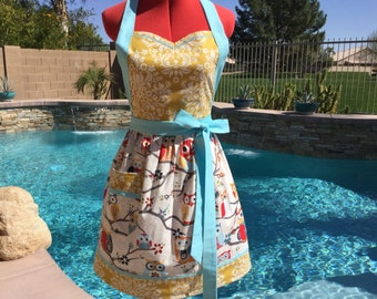 Owl Sassy Apron, Full, Retro Style with Gathered Waist and Towel Loop, Womens Misses and Plus Sizes, Kitchen Apron, Handmade