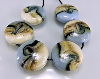 Glass Lampwork Beads Slate Blue/Ivory/Silver Lampwork Bead Set