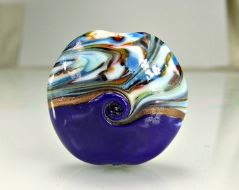 Blue Glass Lampwork Focal Bead SRA