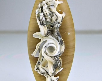 Glass Lampwork Bead Etched Tan Silvered Ivory Lampwork Focal Bead