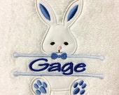 BATH TOWEL Blue Boy Bunny or Pink Girl Bunny Personalized Towel