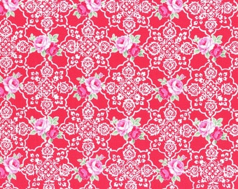 Red Rose Lace Tile 31377 30 Fabric by Lecien Flower Sugar Sweet Carnival