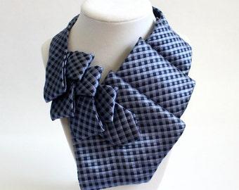 Necktie Scarf - Unique Scarf - Necktie Necklace - Ruffle Scarf - Statement Necklace - Work Wear -  Womens Blue Tie. 5
