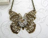 Brass Steampunk Butterfly Filigree Pendant Necklace