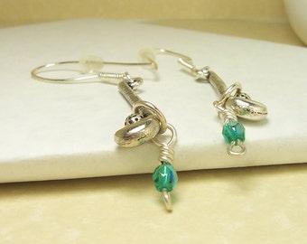 Golf Club Earrings, Aqua Green Czech Earrings, Pewter Earrings, Sterling Silver Earrings, Sterling Silver Ear Wires, Crystal Earrings