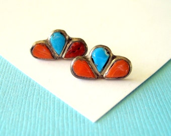 Vintage Zuni Coral and Turquoise Stud Earrings
