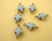 6 Vintage Light Blue  Calcedon Square Glass Connector Charms 2 Ring 6mm antique brass ox