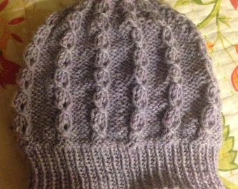 Greyish Lavender Cable Knit Wool Hat