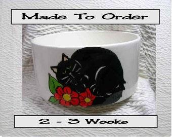 Black Cat In Flowers Pet Bowl With Paw Prints Inside Medium Handmade 20 Oz. Ceramic GMS