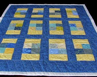 small gender neutural quilt, infant play floor quilt, gift for elderly, cotton flannel quilt, blue and yellow baby quilt