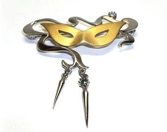 JJ Mardi Gras Mask Masquerade pin brooch vintage Jonette jewelry