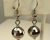 Platinum Silver Earrings, Silver Earring Dangles, Disco Ball Silver Earrings, Versatile Earring Drops, New Years Ball Earrings (E413)