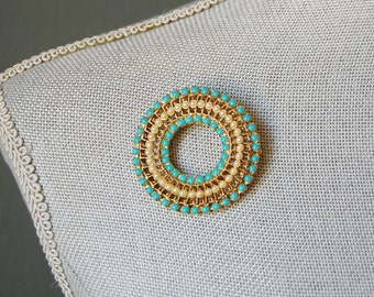 1960s Ornate Brooch Vintage Faux Persian Turquoise Gold Tone Circle