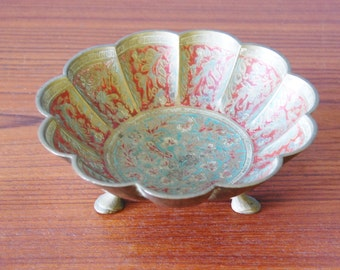 Vintage 1960s Footed Brass Bowl Scalloped Enamel India Home Decor
